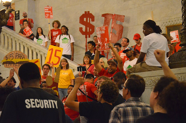 Over 100 NOC, 15 Now and CTUL members crowded the Mpls City Hall