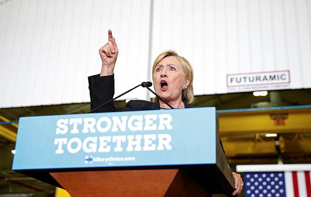 Hillary Clinton discussing her economic plan at Futuramic Tool & Engineering