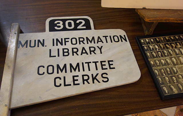 A sign that had directed visitors to the Municipal Building in Minneapolis