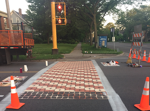 """A """"creative crosswalk"""" at Fairview and Marshall in St. Paul in progress."""