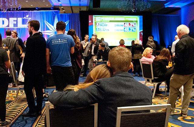 Attendees of the DFL Election Night gathered at the Hilton Hotel