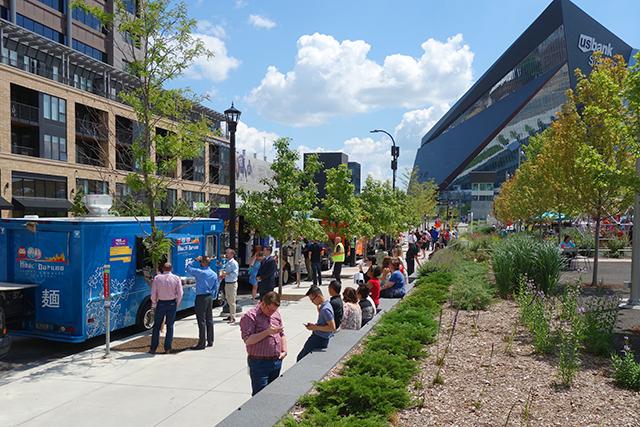 Food trucks lining South 4th Street last week.