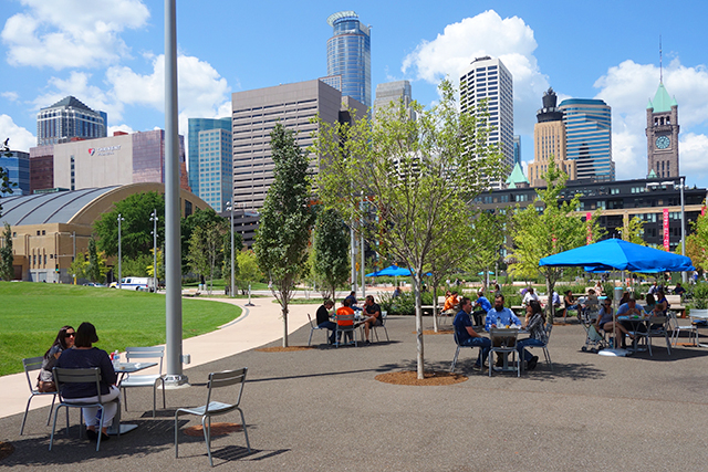A recent lunch hour at the 4.2 acre Commons park.