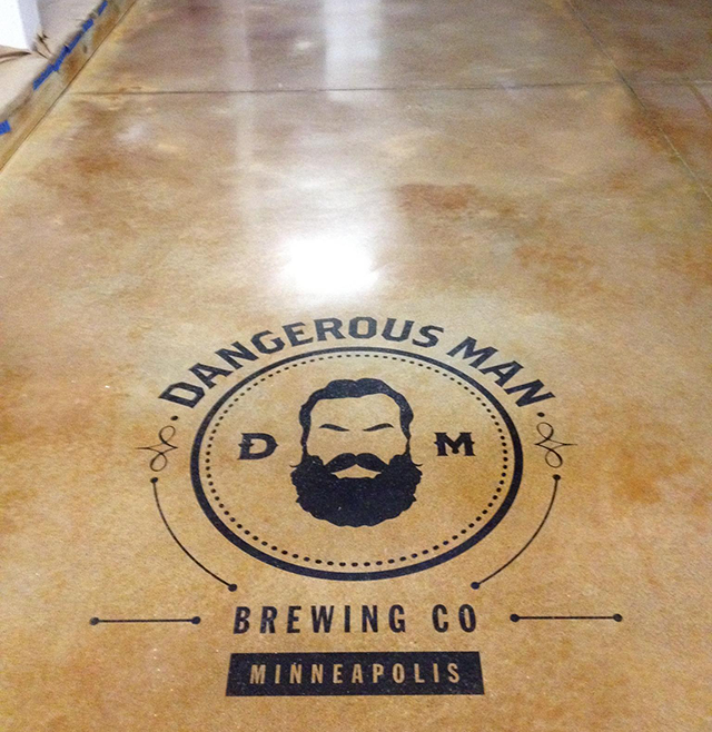 Logo in the floor at Dangerous Man Brewing Co.