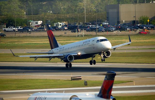 Delta airplane taking off