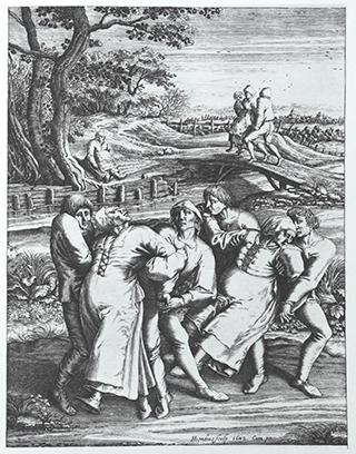 """""""The Dancing Mania"""" by Hendrick Hondius"""