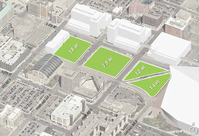Commons area showing Ryan properties and current city blocks