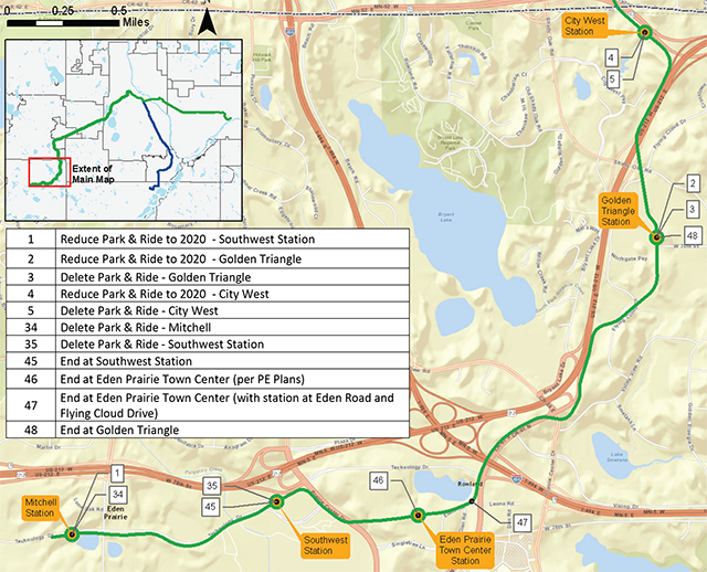 Potential cost-saving reductions to Southwest LRT in Eden Prairie