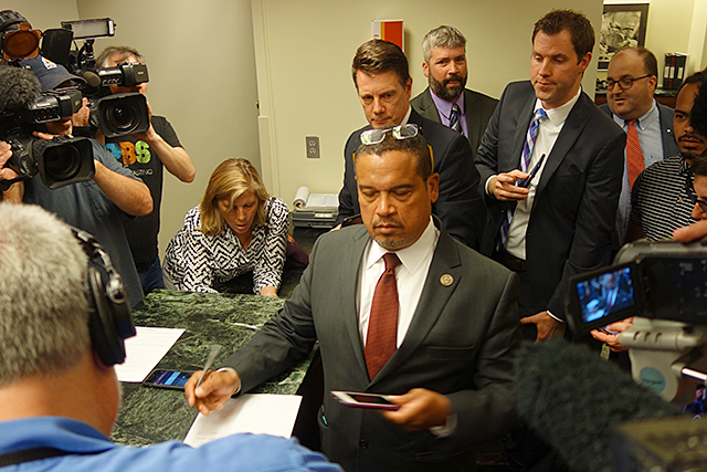 Rep. Keith Ellison filing for office last Tuesday at the Election Center.