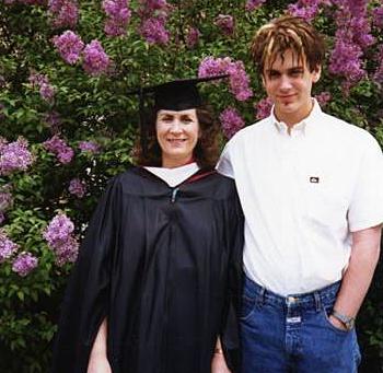 Gloria Englund and son Aaron Watson in 1990.