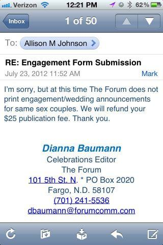 Fargo Forum's rejection of same-sex marriage ad has sparked an outcry