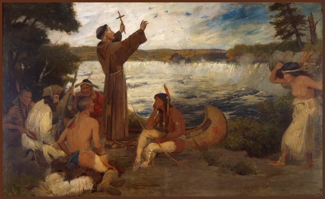 """Father Hennepin at the Falls of St. Anthony"" by Douglas Volk"