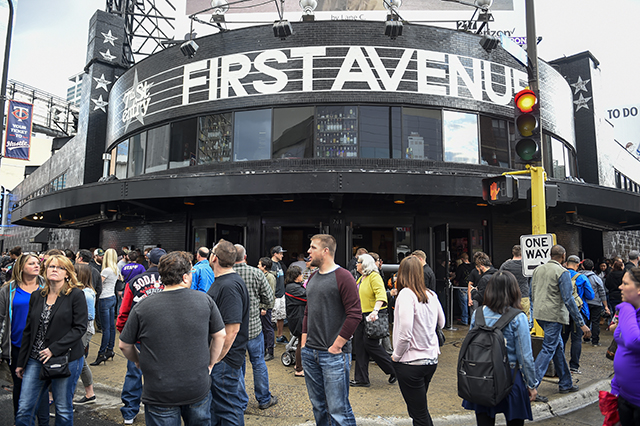 Fans gathering outside First Avenue on April 21.