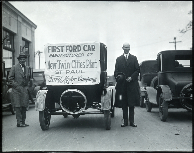 The first car manufactured at the new Twin Cities Ford Plant in St. Paul.