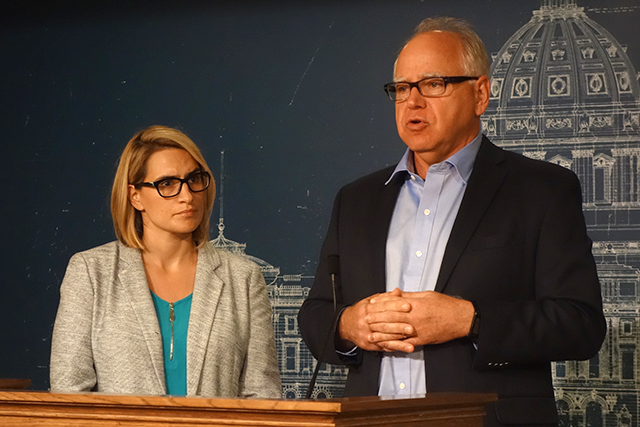 Tim Walz and running mate Peggy Flanagan, left