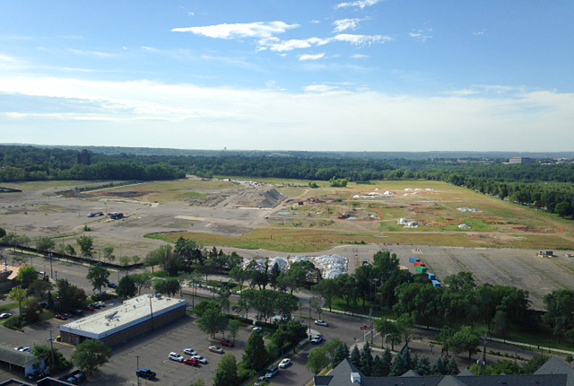 An aerial view of the site of the former Ford Motor plan