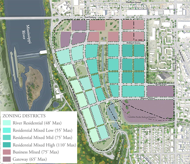 Proposed zoning and public realm plan for the Ford site