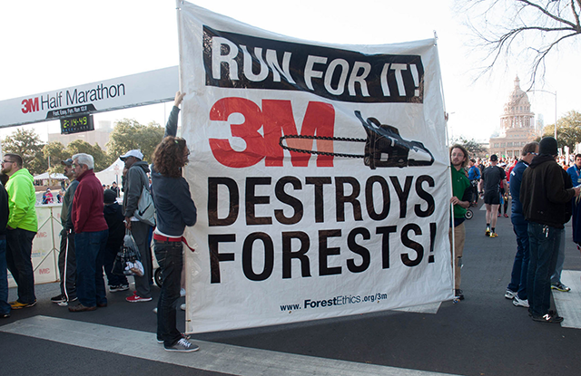 ForestEthics protesting during a 3M-sponsored half-marathon in Austin, TX, in 20
