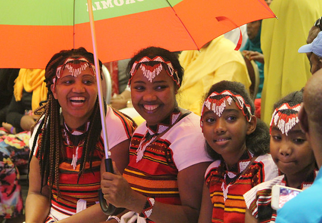 Four girls in traditional Oromo dress