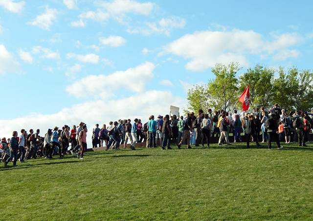 Demonstrators meet at the Gold Medal Park hill before the march.