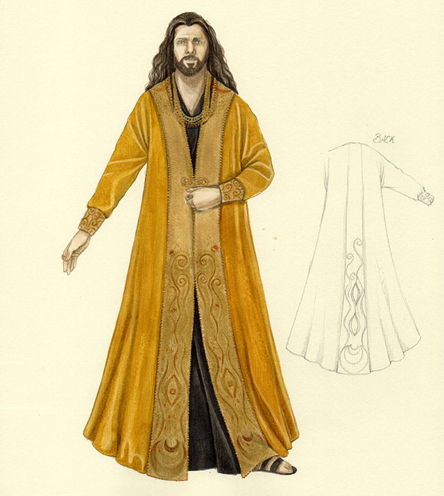 A costume rendering for Lucas Meachem's character Athanaël.