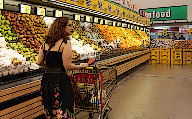 Grocery shopping in the produce aisle