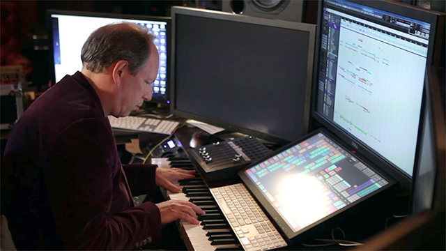 """Hans Zimmer shown at his keyboard in a scene from """"Score."""""""