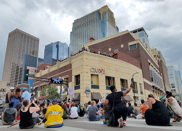 Protesters performed 'die-ins' at several intersections on Hennepin Avenue