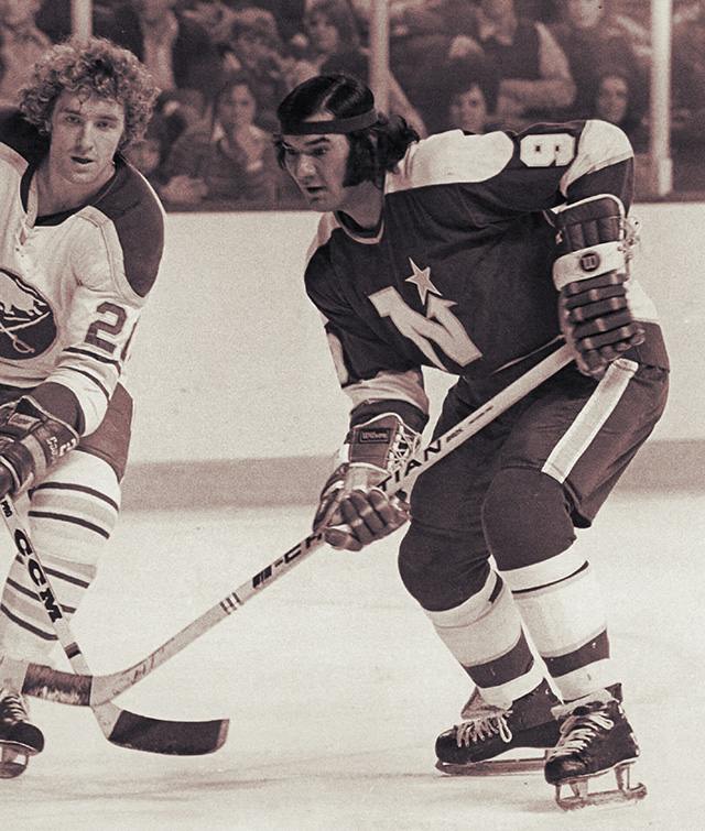 Minnesota North Star Henry Boucha in a game versus the Buffalo Sabres.