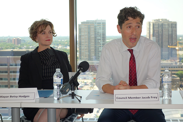 Mayor Betsy Hodges and Council Member Jacob Frey