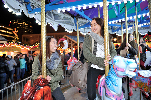 The carousel at Holidazzle Village.