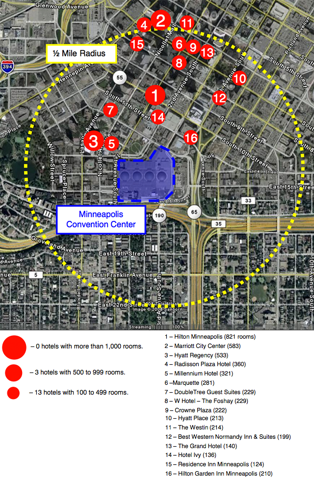 Hotel rooms within ½ mile of the Minneapolis Convention Center