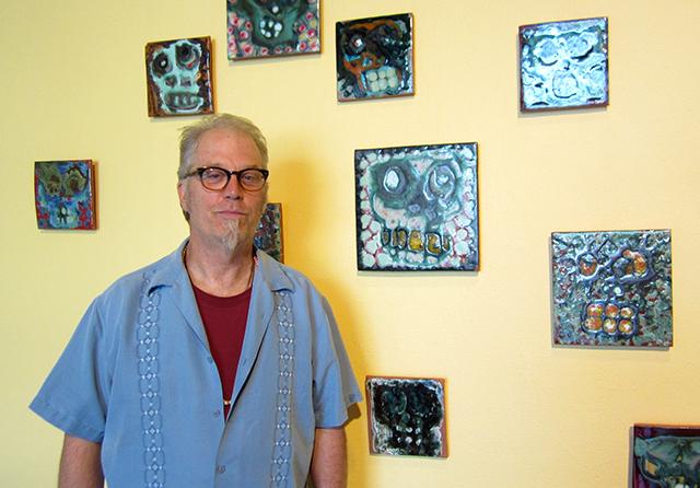 Minneapolis-based visual artist Dougie Padilla and his skull tiles.