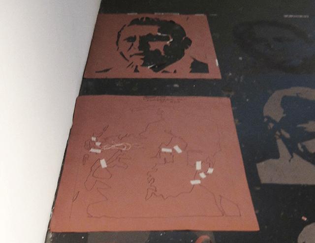 Jonathan Herrera's stencils of murdered Mexican journalists.