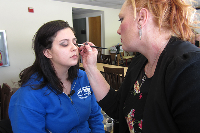 Stepping Stone resident Ashley Micheletti and makeup artist Sara Capers