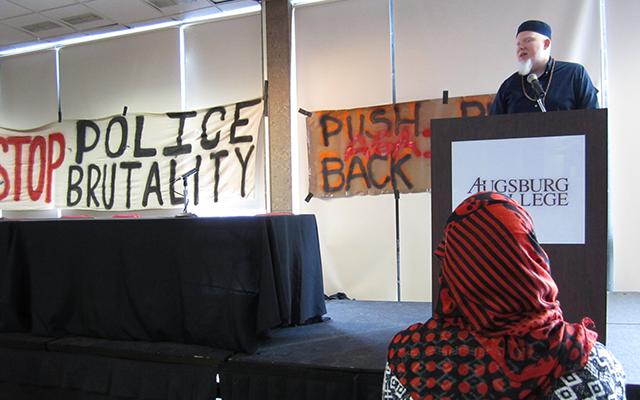 Brother Ali delivers the keynote address.