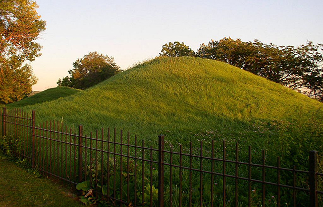 Two Native American burial mounds in Indian Mounds Regional Park