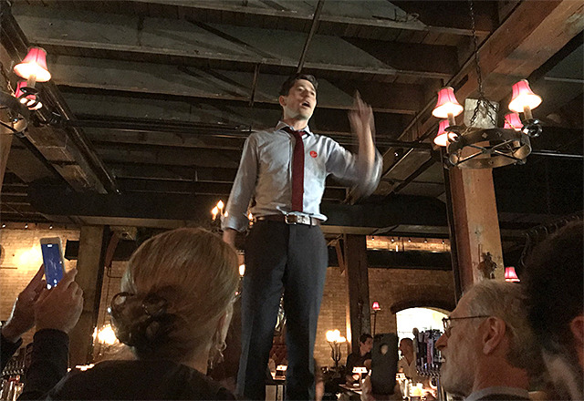 Council Member Jacob Frey addressing party attendees Tuesday night