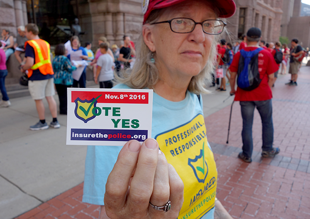 Janet Nye outside city hall prior to the Aug. 3 Minneapolis City Council vote