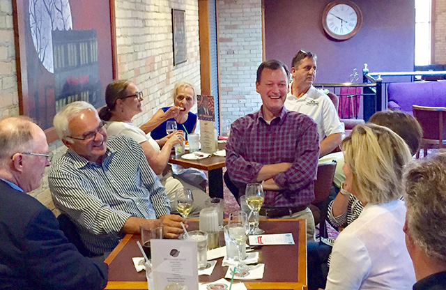Jeff Johnson chatting with St. Cloud Republicans in July.
