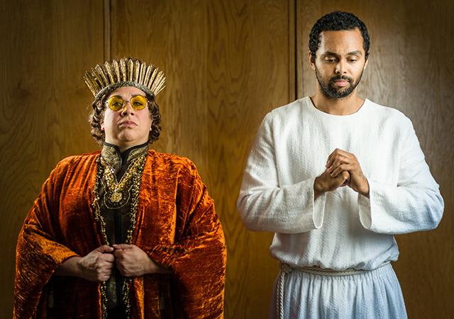 "Erin Schwab as King Herod and Jesse Nager as Jesus of Nazareth in ""Jesus Christ"