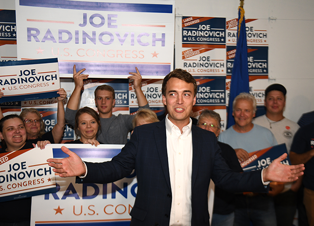Joe Radinovich celebrating at his downtown Brainerd campaign headquarters