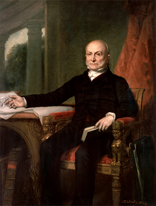 Adams in a posthumous portrait created in 1858 by G.P.A. Healy