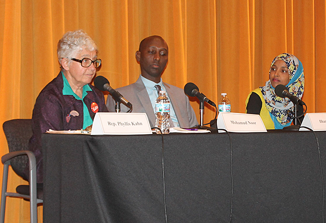 Then-Rep. Phyllis Kahn and candidates Mohamud Noor and Ilhan Omar
