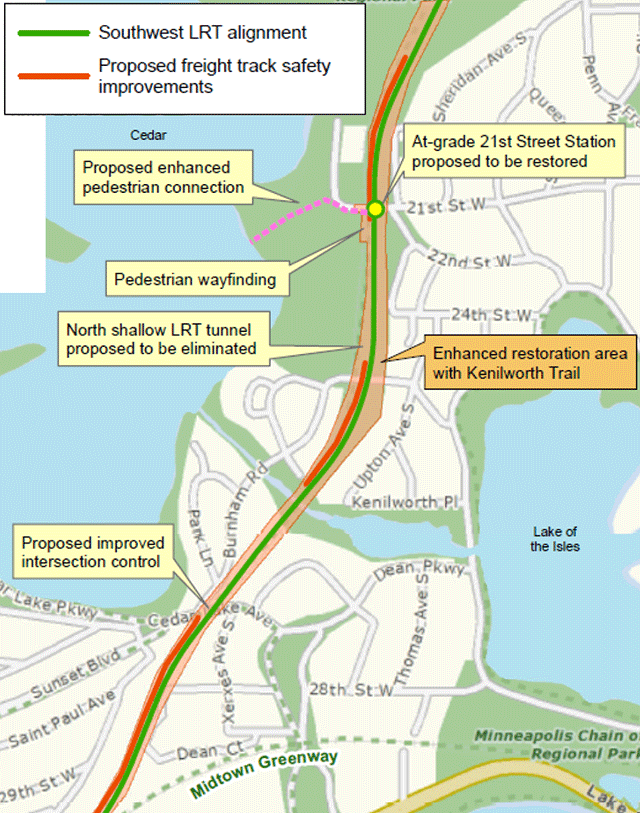 Detail of proposed Southwest LRT route through the Kenilworth corridor.