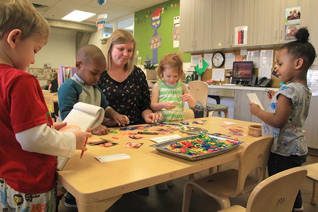 An activity station in Kira Peters' preschool classroom