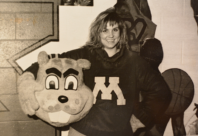 Kristin Schmalz Lyerly in the Goldy Gopher costume.