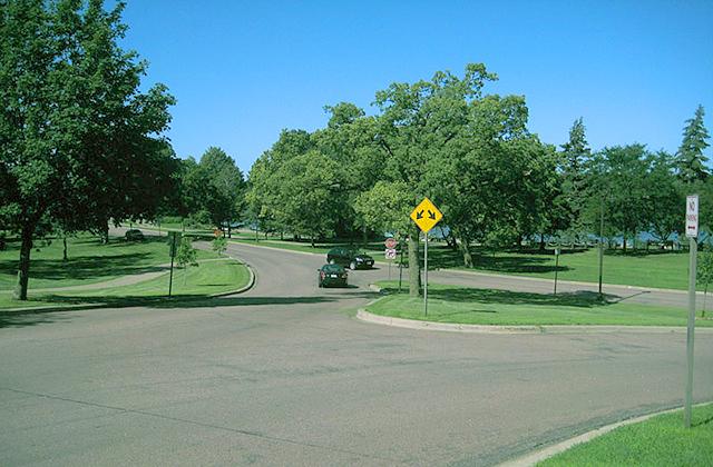 A street corner by Lake Nokomis.