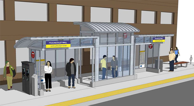 A rendering of the proposed large shelters on the C-Line.