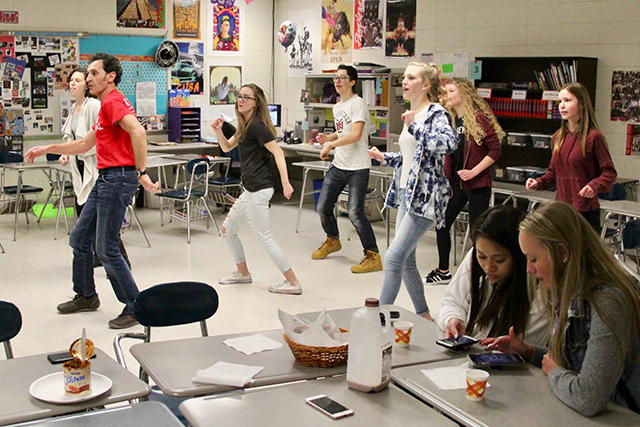 Students taking part in a Latin dance routine during LEAP period.